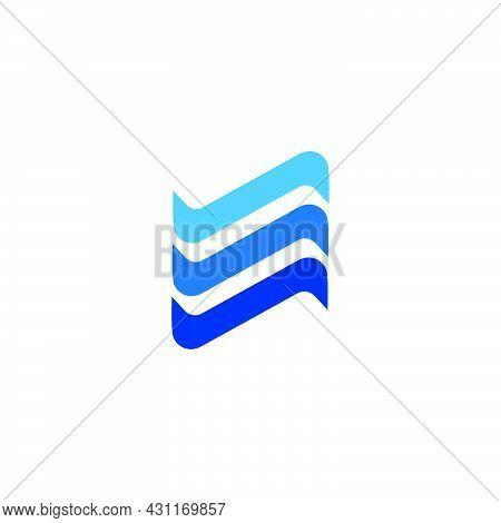 Deep Waves Ocean Motion Simple Geometric Logo Vector