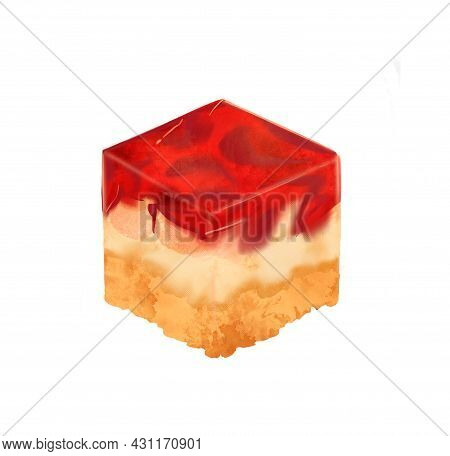 Llustration Of A Colored Drawing Of Sweets: A Piece Of Jelly Cake With Layers Of Yellow And Red And
