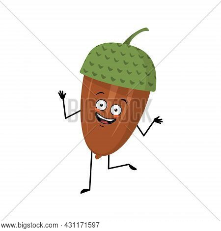 Character Acorn With Happy Emotions, Dancing, Joyful Face, Smile Eyes, Arms And Legs. Cheerful Fores