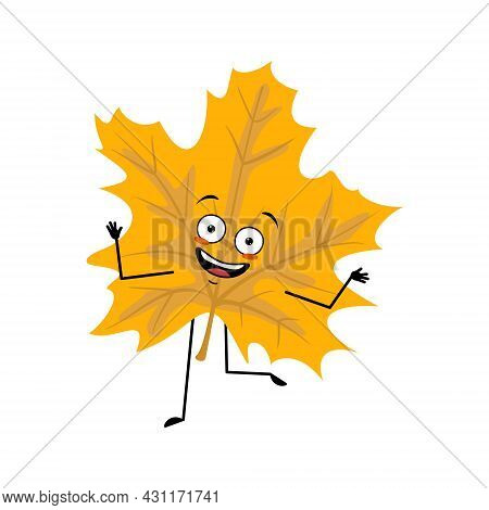 Maple Leaf Character With Happy Emotions, Dancing, Joyful Face, Smile Eyes, Arms And Legs. Cheerful