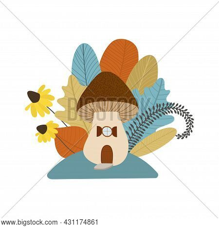 Autumn Cute Mushroom House With Leaves, Flowers. Fall Bouquet. Fall Clipart, Harvest Set, Cozy Seaso