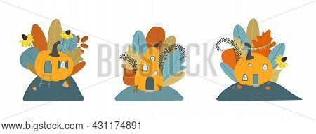 Autumn Set Of Cute Pumpkin House With Leaves, Flowers. Fall Bouquet. Fall Clipart, Harvest Set, Cozy