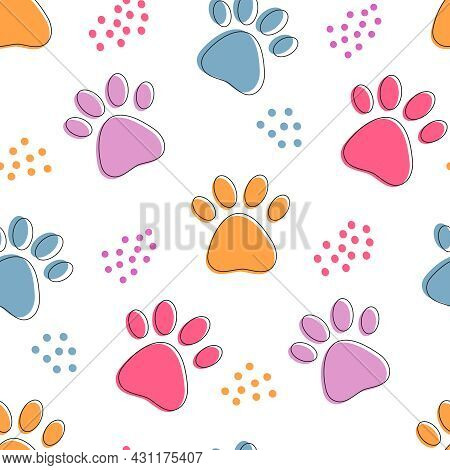 Cute Seamless Pattern With Colorful Pets Paws. Cat Or Dog Footprint Outline Bright Background With D