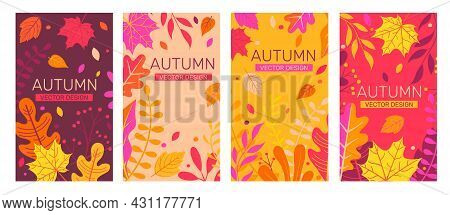 Set Autumn Banners Full Of Colorful Autumn Leaves.fall Season Flyers, Presentations, Reports Promoti