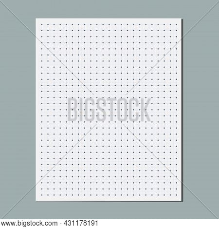Dot Grid Graphical Paper Sheet, Empty Square Coordinate Grid Lined Paper, Bullet Journal Page. Desig