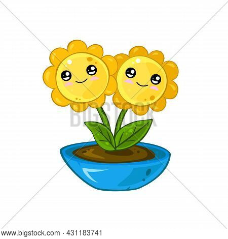 Cute Cartoon Potted Plant With Green Leaves And Yellow Flowers With Cute Face. Beautiful Element For