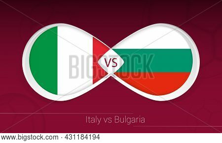 Italy Vs Bulgaria In Football Competition, Group C. Versus Icon On Football Background. Vector Illus