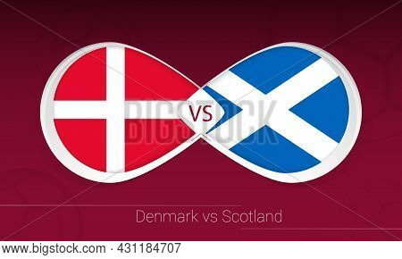 Denmark Vs Scotland In Football Competition, Group F. Versus Icon On Football Background. Vector Ill