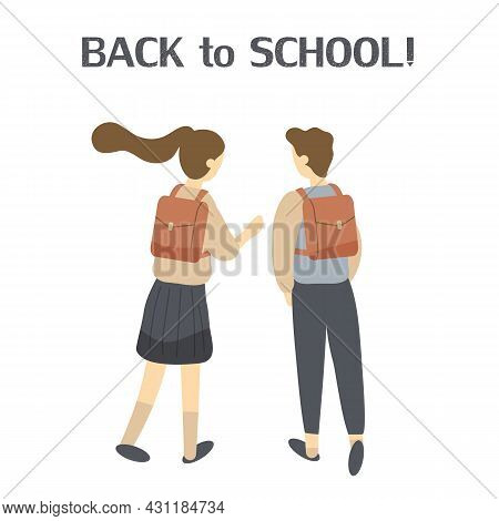 Two Classmates, Classfellows Or Friends Walk To School And Talk Or Chat.pair Of Girl And Boy Or Stud