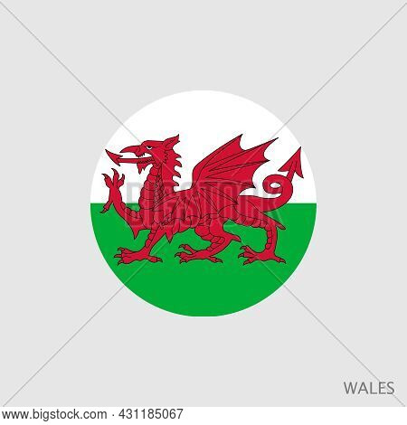 Wales Flag With Official Colors And Proportion Correctly. National Flag Of Wales Symbol. Vector Illu