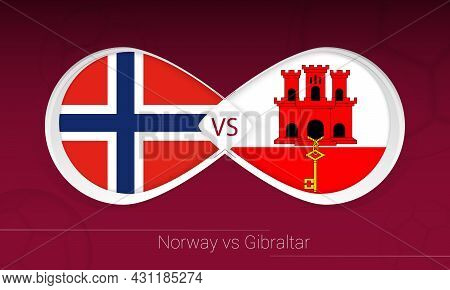 Norway Vs Gibraltar In Football Competition, Group G. Versus Icon On Football Background. Vector Ill