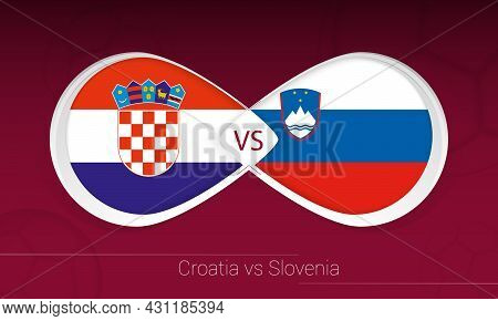 Croatia Vs Slovenia In Football Competition, Group H. Versus Icon On Football Background. Vector Ill