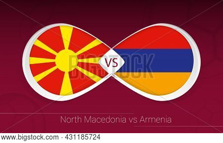 North Macedonia Vs Armenia In Football Competition, Group J. Versus Icon On Football Background. Vec