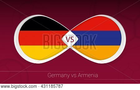 Germany Vs Armenia In Football Competition, Group J. Versus Icon On Football Background. Vector Illu