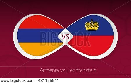 Armenia Vs Liechtenstein In Football Competition, Group J. Versus Icon On Football Background. Vecto