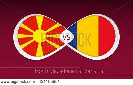 North Macedonia Vs Romania In Football Competition, Group J. Versus Icon On Football Background. Vec