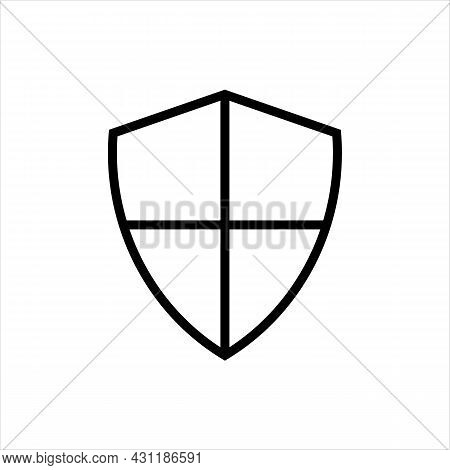 Pixel Perfect Black Thin Line Icon Of A Blank Safety Shield. Editable Stroke Vector 64x64 Pixels. Sc