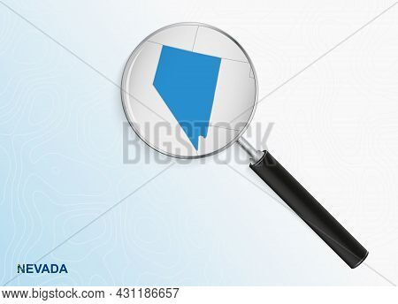 Magnifier With Map Of Nevada On Abstract Topographic Background. Vector Map.