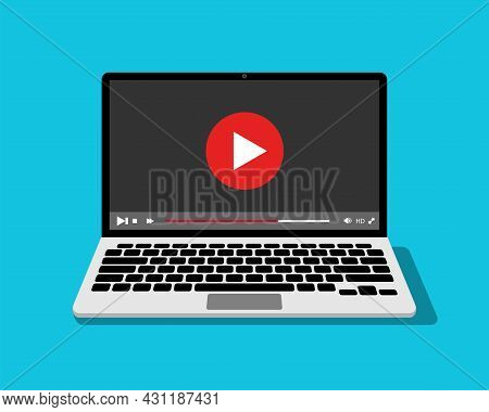 Laptop Screen With Video Player. Online Video Content Concept. Vector Illustration.