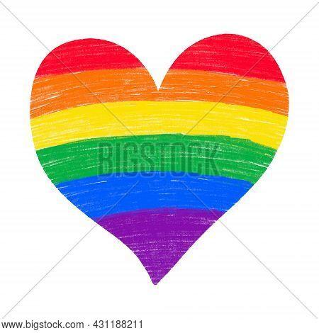 Rainbow Heart Hand Drawn Pencil Crayon Textured Isolated. Lgbtq Gay Pride Flag Colors.