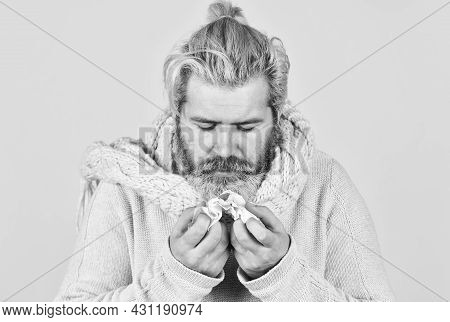 Coughing Blood. Pneumonia. Sick Man Hold Napkin With Blood. Sickness Allergy Concept. Ill Man With B
