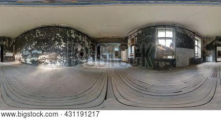 360 Hdr Panorama In Abandoned Empty Concrete Room Or Old Building. Full Seamless Spherical Hdri Pano