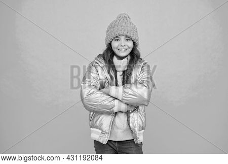 Warm Smiles. Teenage Girl In Silver Puffer Jacket. Trendy Warm Clothing. Happy Childhood. Accessorie