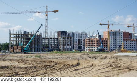 Large Construction Site. The Process Of Capital Construction Of A High-rise Residential Complex. Mod