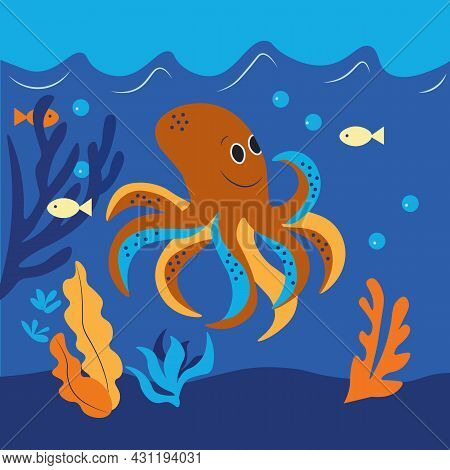 Vector Illustration, A Cheerful Octopus Lives In The Deep Blue Sea