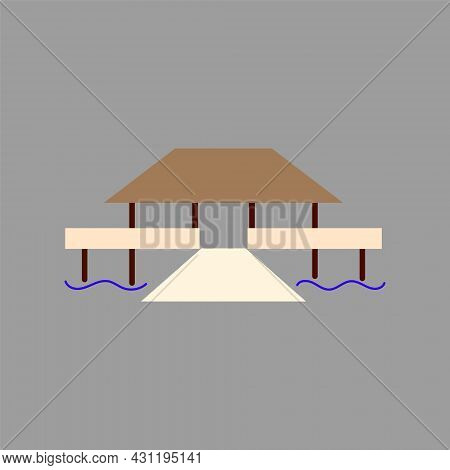 Water Bungalow Flat Icon. Maldives Attribute. Exotic Massage. Tropical Resort. Color Filled Symbol.