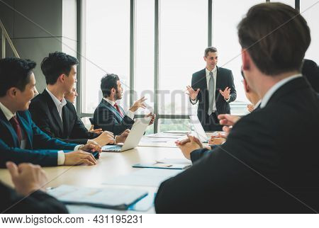 Business People Meeting Conference Discussion Corporate Concept In Office. Team Of Newage Multiethni