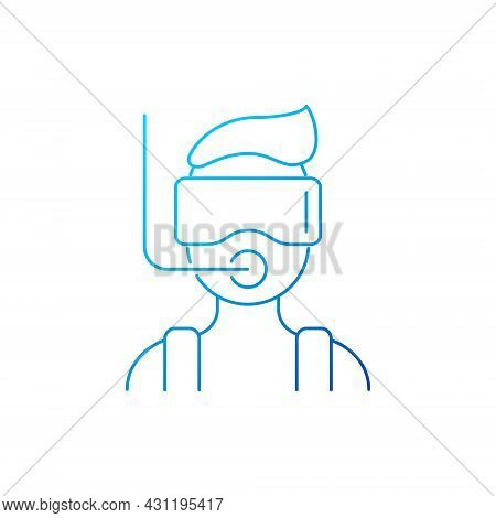 Diver With Mask And Snorkel Outline Icon. Maldives Attraction. Travel Entertainment. Blue Gradient S