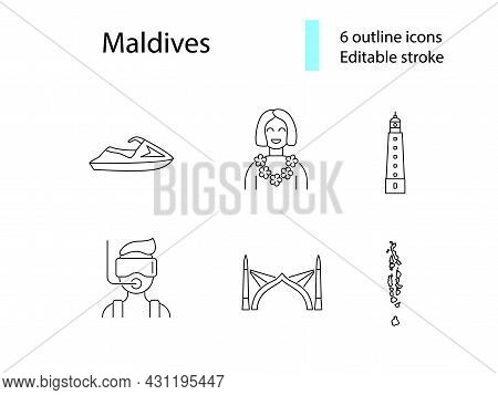 Maldives Attributes Outline Icons Set. Jet Ski And Diving. Geography, Lighthouse. Capital Male Arch.