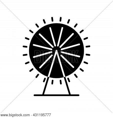 Ferris Wheel Glyph Icon. Taiwan. Amusement Park. Oriental Custom. Asian Item. Black Filled Symbol. I