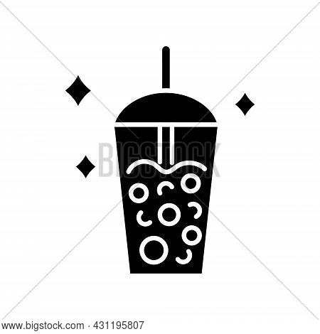 Milk Bubble Tea Glyph Icon. Taiwanese Popular Drink. Street Food. Black Filled Symbol. Isolated Vect