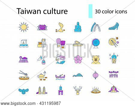 Oriental Culture Of Taiwan Flat Icons Set. Taiwanese Attractions. Asian National Tradition. Color Fi