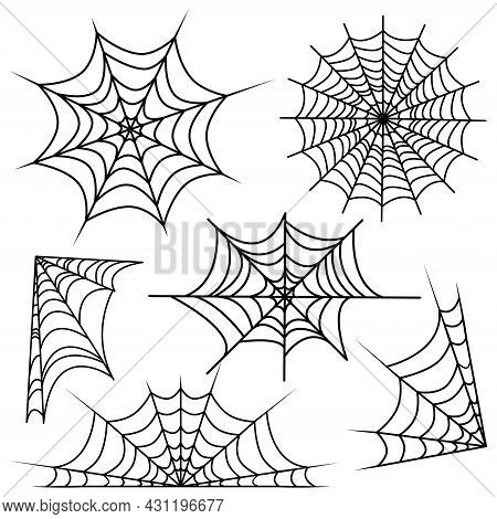 Set Of Web Spider Cobweb. Vector Illustration