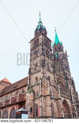 Church With Gothic Architecture In Germany  . St Laurence , Evangelical Lutheran Parish Of Nuremberg