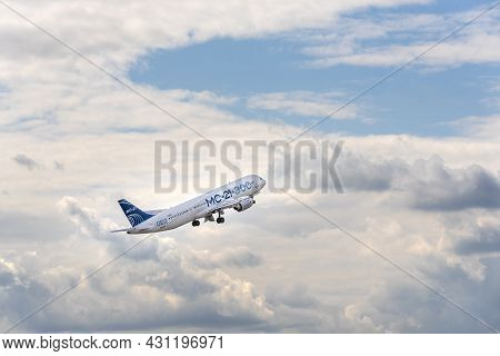 Moscow, Russia - 07 25 2021: The Irkut Mc-21 300, Russia's Newest Passenger Aircraft Test Plane Take