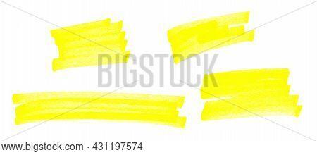 Highlight Pen Brush Yellow For Marker, Highlighter Brush Marking For Headline, Scribble Mark Stroke