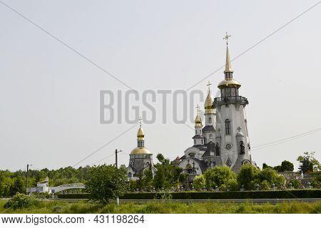 Christian Church Cross In High Steeple Tower For Prayer