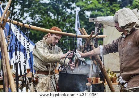 Medieval Men Preparing Food