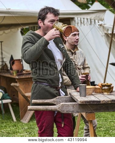 Medieval Man Drinking Wine