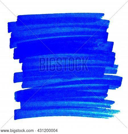 Highlight Pen Brush Blue For Marker, Highlighter Brush Marking For Headline, Scribble Mark Stroke Of