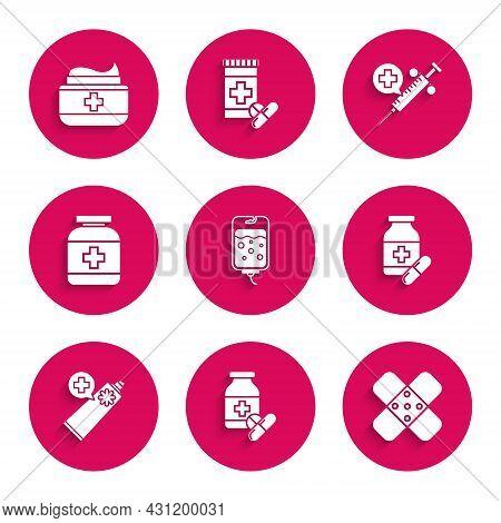 Set Iv Bag, Medicine Bottle And Pills, Crossed Bandage Plaster, Ointment Cream Tube Medicine, Medica
