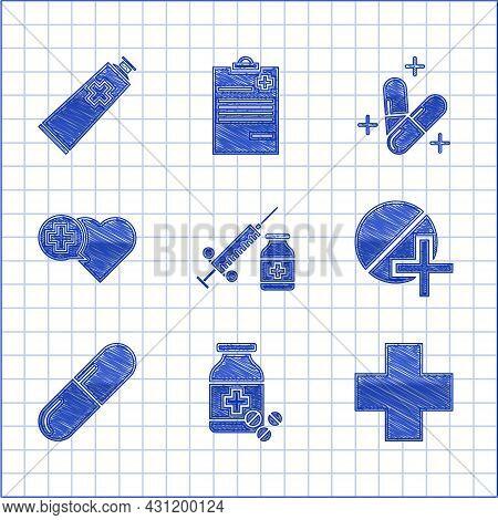 Set Medical Syringe With Needle And Vial Or Ampoule, Medicine Bottle Pills, Cross Hospital Medical,