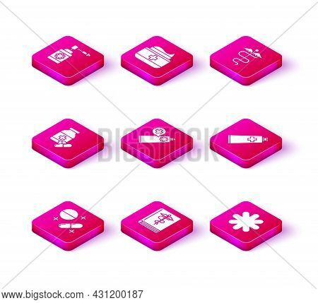 Set Medicine Pill Or Tablet, Medical Book, Bottle And Pills, Ointment Cream Tube Medicine, Cross Hos