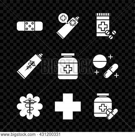 Set Bandage Plaster, Ointment Cream Tube Medicine, Medicine Bottle Pills, Emergency Star Medical Sym