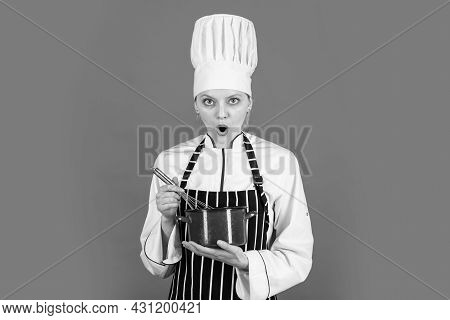 Surprised Chef Cook With Saucepan. Woman In Apron And Hat Use Beater. Come To My Cooking Class. Culi