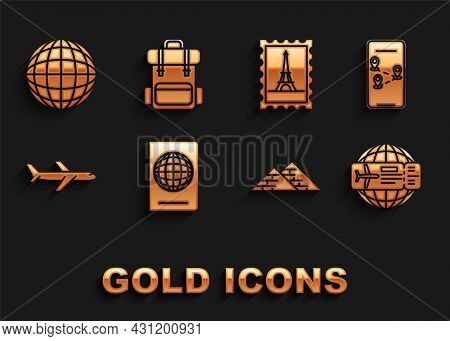 Set Passport With Biometric Data, Infographic Of City Map Navigation, Airline Ticket, Egypt Pyramids